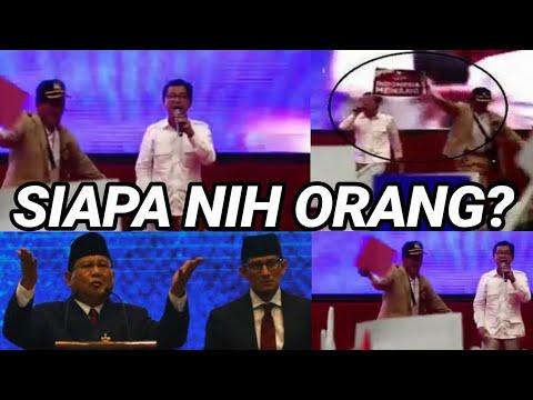 ADA YG TROBOS MASUK SAAT PRABOWO PIDATO;INDONESIA MENANG;PILPRES 2019;DEBAT CAPRES;JOKOWI;SANDIAGA;
