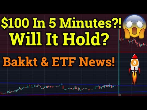Bitcoin BTC Pumped $100+ In 5 Minutes?! ETF + Bakkt News! Cryptocurrency Analysis + Trading 2019