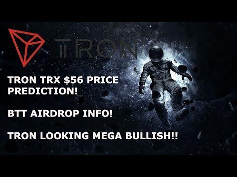 TRON TRX $56 PRICE PREDICTION!? BTT AIRDROP INFO! TRON LOOKING MEGA BULLISH!!