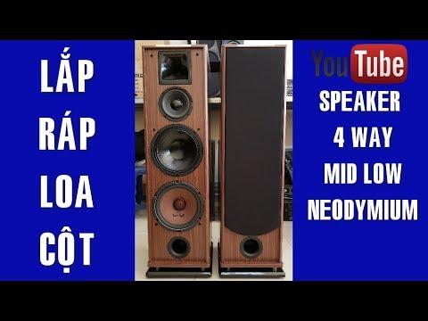 Lắp Ráp Loa Cột, Loa 4 Way Bass 25 Từ Neo, Treble Neo 450 ✔