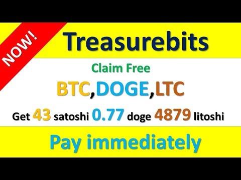Claim free Treasurebits นาทีทอง Get 43 satoshi 0.77 doge 4879 litoshi  จ่ายจริงแน่นอน