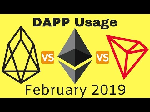 EOS vs ETH vs TRX DAPP Usage Stats FEB 2019