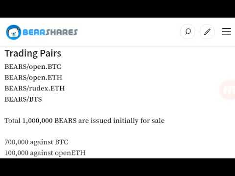 Bearshares – Now Listed On Bitshares Dex!