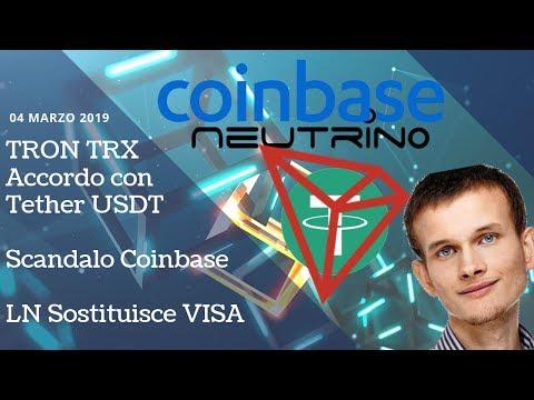 TRON TRX Accordo con Tether USDT | Scandalo Coinbase | LN Sostituisce VISA | TGCrypto