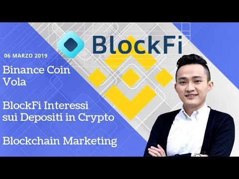 Binance Coin Vola | BlockFi Interessi sui Depositi in Crypto | Blockchain Marketing | TGCrypto