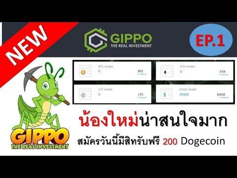 เว็บใหม่จากค่าย Gippo มี 4 เหรียญให้ลงทุน Doge BTC LTC ETH สมัครวันนีมีสิทรับ 200 doge จาก (Topten)