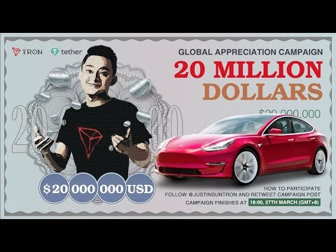 TRON TRX JUSTIN SUN TO GIVE AWAY 20M! WOW! IF I WIN IM GIVING 90% TO YOU GUYS & BUYING A LAMBO!
