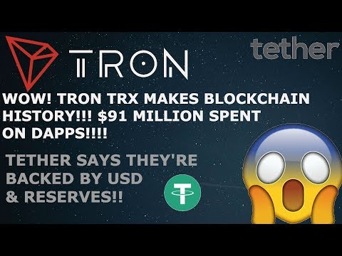WOW! TRON TRX MAKES HISTORY! $91M SPENT ON DAPPS! USDT TETHER