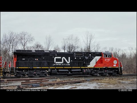 "RAILREEL"" RAINY DAY RAILFANNING"" CN VIA CP OSR Woodstock Mar 14 2019"