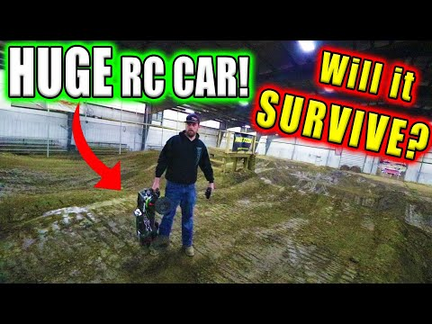 HUGE RC CAR vs MOTOCROSS TRACK!!!