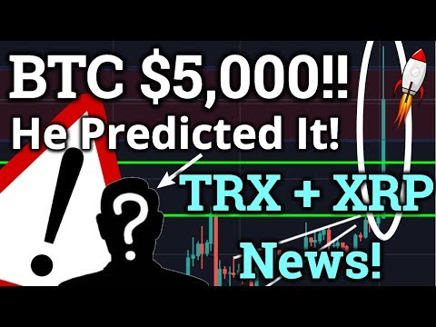 BITCOIN BREAKS PAST $5,000! What Now? Tron TRX + Ripple XRP News! Cryptocurrency Analysis + Trading!