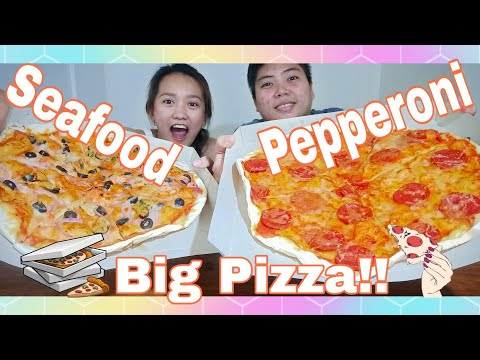 Pizza Mukbang (pepperoni & seafood) + Spaghetti!   Kris Sia