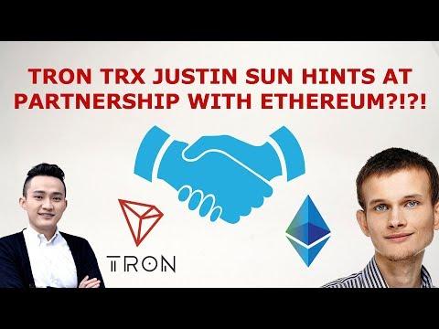 TRON TRX JUSTIN SUN HINTS AT PARTNERSHIP WITH ETHEREUM?!?!