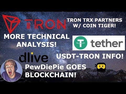 TRON TRX PARTNERS W/ COIN TIGER! PewDiePie GOES BLOCKCHAIN! USDT-TRON INFO!