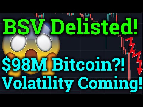 BSV Delisted! BTC Volatility Coming! $98M Bitcoin?! (Bitmex Trading + Cryptocurrency Analysis/News)