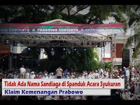 Tidak Ada Nama Sandiaga di Spanduk Acara Syukuran Klaim Kemenangan Prabowo