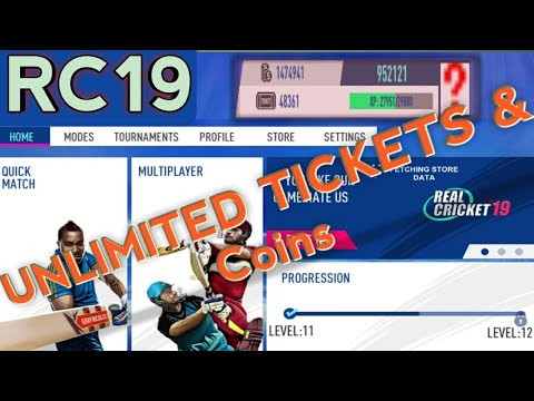 Real Cricket 19 Unlimited Tickets and Coins,How to unlock RC19 All Tournaments