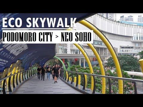 Walking from Halte Trans Jakarta Podomoro City to Neo Soho via Central Park and Eco Skywalk