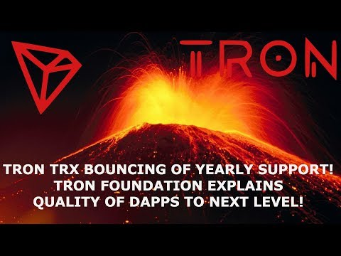 TRON TRX BOUNCING OF YEARLY SUPPORT! TRON FOUNDATION EXPLAINS QUALITY OF DAPPS TO NEXT LEVEL!
