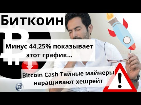 Биткоин минус 44,25% показывает этот график…  Bitcoin Cash Тайные майнеры наращивают хешрейт