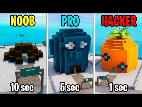 NOOB vs PRO vs HACKER – Fortnite: Spongebob House Challenge