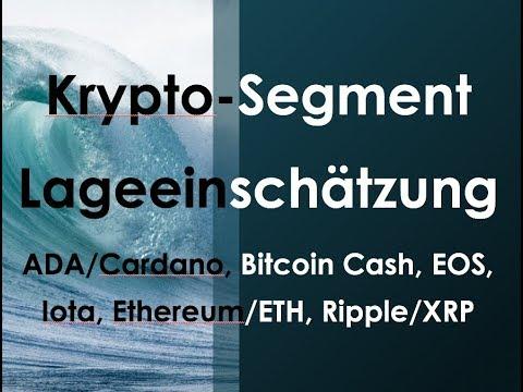 Kryptosegment – Lageeinschätzung zu ADA/Cardano, Bitcoin Cash, EOS, Iota, Ethereum/ETH, Ripple/XRP
