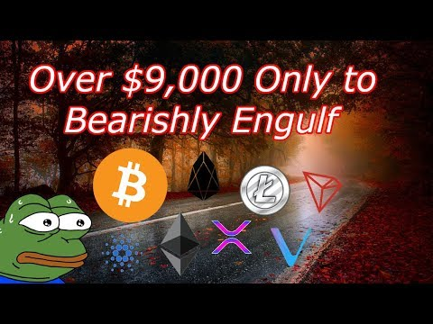 Bitcoin Live : BTC Over $9,000 Only To Bearishly Engulf! Episode 537 – Crypto Technical Analysis