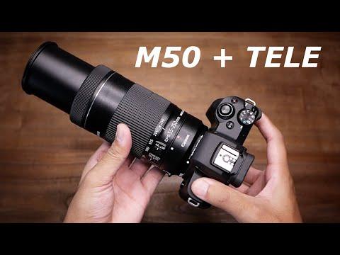 Lensa DSLR dipasang di Mirrorless   Canon EOS M50 + Tele EF-S 55-250mm is STM