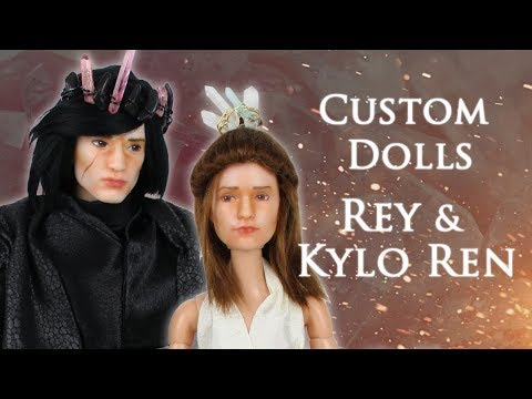 Custom Doll Repaint! Rey and Kylo Ren – Kyber Crystal Royalty – Star Wars Collab