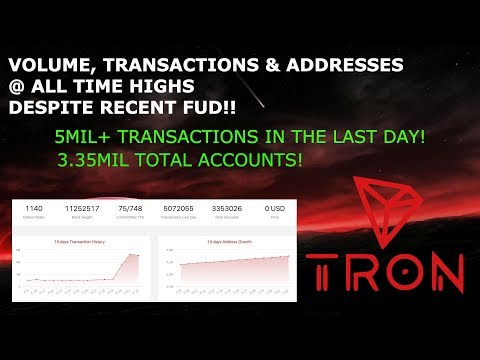 TRON TRX VOLUME, TRANSACTIONS & ADDRESSES @ ALL TIME HIGHS DESPITE RECENT FUD!!