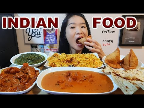 Eating Indian Food! Spicy Curry Chicken, Palak Paneer, Samosa & Butter Chicken Mukbang w Asmr Eating