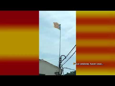 """Lazis electrifican el mástil de una estelada en Onrius (Bcn). La """"gent de pau"""""""