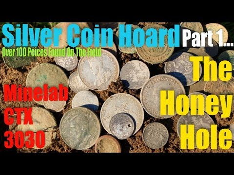 Silver Coin Hoard Found At The Honey Hole Minelab CTX3030  Part 1