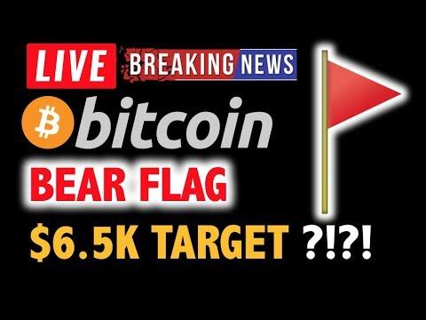 BITCOIN 🚩BEAR FLAG FORMED? $6.5K TARGET?🚩❗️LIVE Crypto Analysis TA & BTC Cryptocurrency Price News