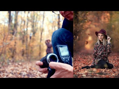 Full-frame pic on Canon EOS M50 BTS photoshoot in the forest used Commlite  Speed Booster