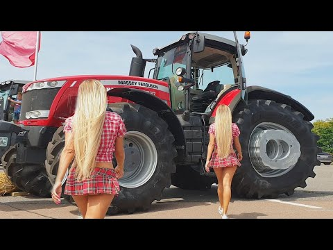 Pretty Girl Tractor Driver XTZ Agriculture Machines, Cultivator AgroExpo Exhibition Farmer Girl 2019