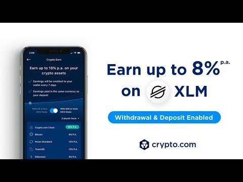 CRYPTO.COM NOW PAYING 8% p.a.ON STELLAR LUMENS XLM DEPOSITS!