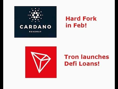 Cardano(ADA) to hard fork next month, TRON launches Defi Loans, Livestream recap