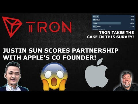 TRON TRX JUSTIN SUN SCORES PARTNERSHIP WITH APPLE'S CO FOUNDER!