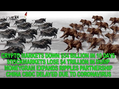 Crypto Market Lose $54 Billion – Stockmarkets Lose $4 Trillion – Moneygram Expand Ripple Partnership