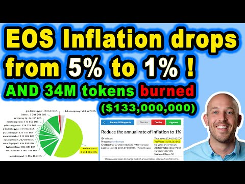 🔵 EOS inflation reduced from 5% to 1%!!! And 34M tokens burned, worth over $130M!