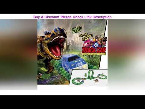 Review 153Pcs Kids Diy Assemble Jurassic Dinosaur Rail Race Track Car Toy Rail Blocks Railway Rolle