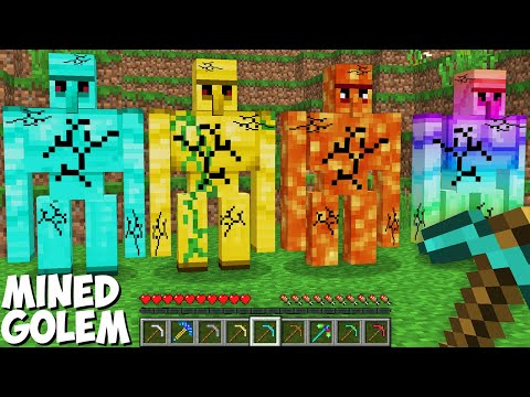 WHAT if MINED SUPER SECRET GOLEM in Minecraft ? RAREST GOLEM DROP !
