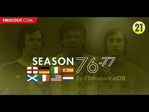 Sezon 1976-77 dla Football Managera 2021. Retro Baza Danych.