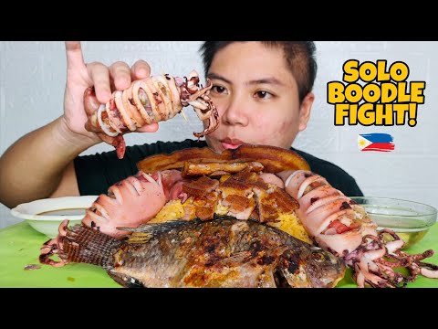 BOODLE FIGHT MUKBANG LIEMPO INASAL GRILLED PUSIT GRILLED TILAPIA | Mukbang Philippines