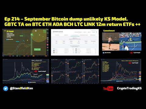 Ep 214 – September Bitcoin dump unlikely KSModel. GBTC: BTC ETH ADA BCH LTC LINK 12m return ETFs ++